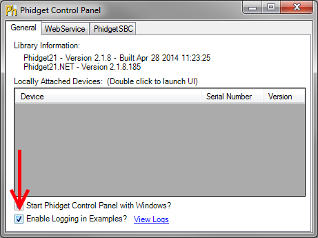 Debug Phidgets with logging in Phidget Control Panel