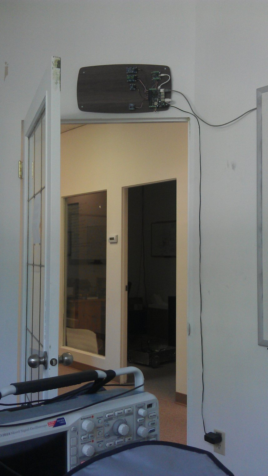 The Phidget home automation sensor panel mounted.