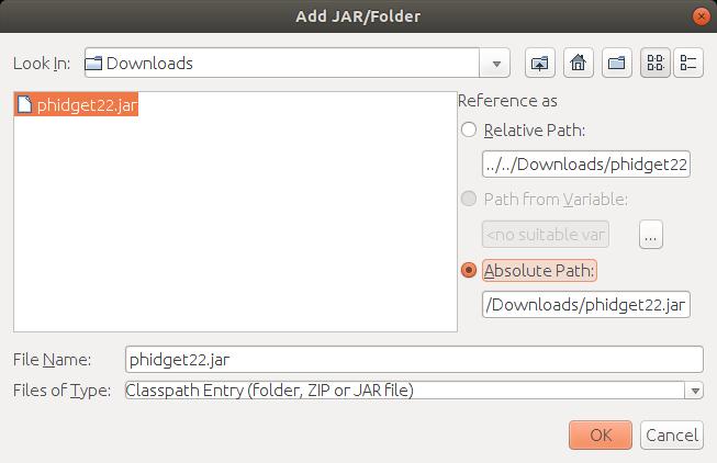 Language - Java Linux NetBeans - Phidgets Support