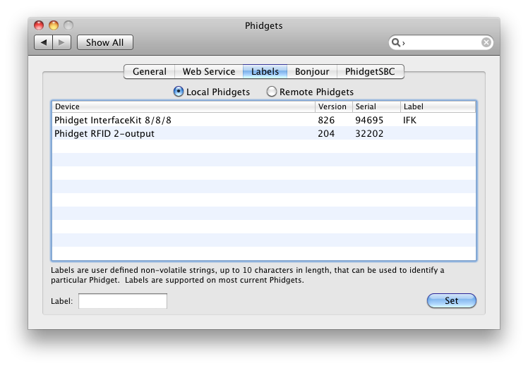 OS X PreferencePane WebService Labels Local
