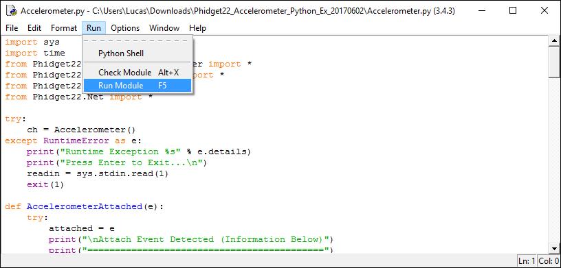 Language - Python Windows IDLE - Phidgets Support