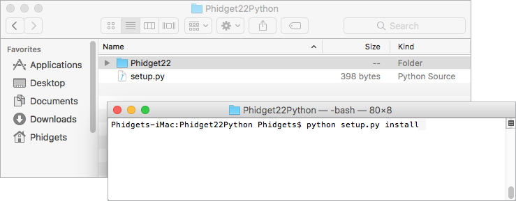 Language - Python macOS Terminal - Phidgets Support