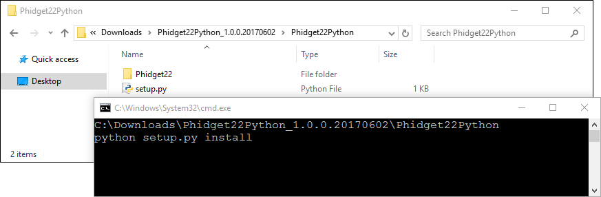 Language - Python Windows Command Line - Phidgets Support