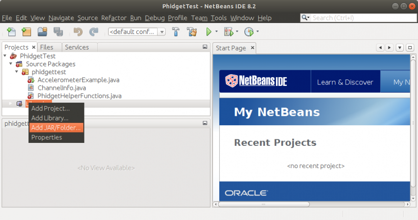 Language - Java Linux NetBeans - Phidgets Support
