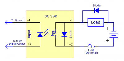 schematic of an dc ssr switching a generic load, which is protected by a  diode connected in parallel  the circuit is protected by a fuse in series  after the
