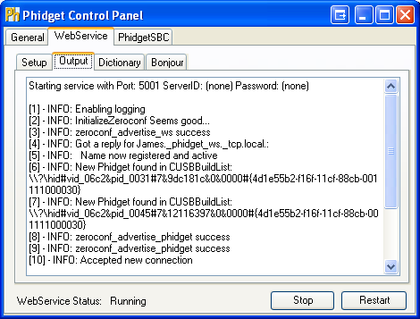 Windows Control Panel WebService Output
