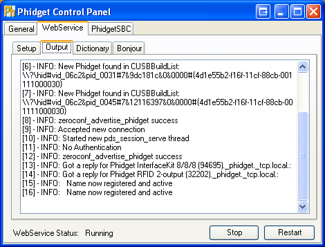 Windows Control Panel WebService Output Running