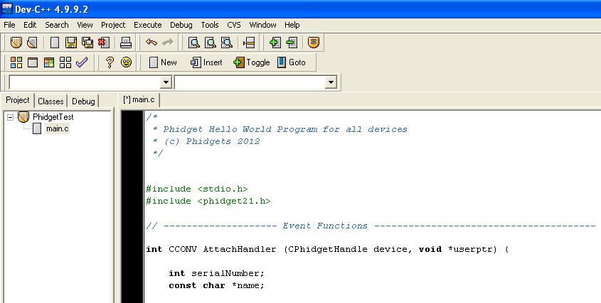 Language C C Phidgets Legacy Support: execute c code