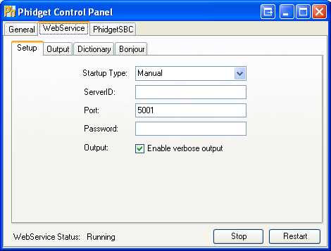 Windows Control Panel WebService Setup Running