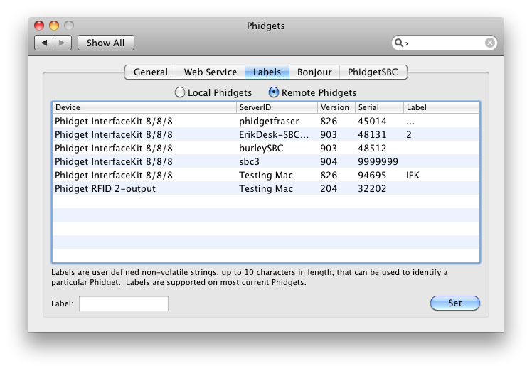 OS X PreferencePane Webservice Labels Remote