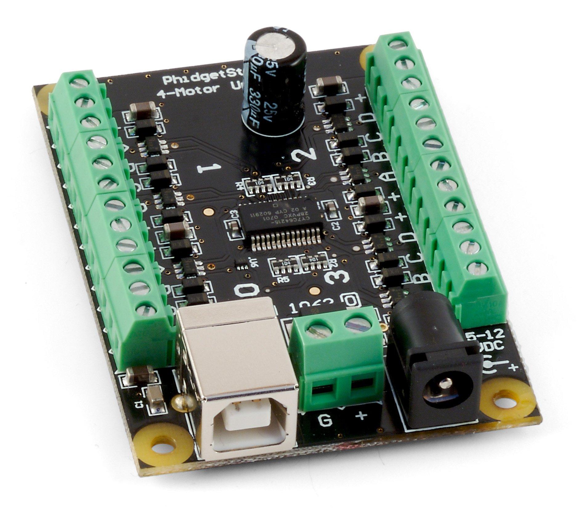 Phidgets inc 1062 0 phidgetstepper unipolar 4 motor for Usb stepper motor controller
