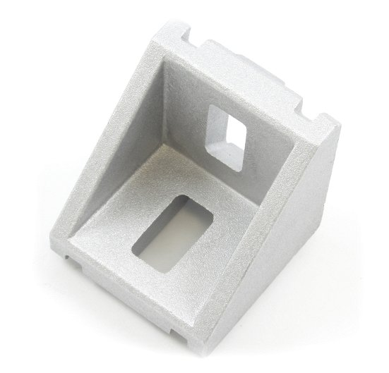 Cast aluminum right angle bracket for 40x40mm T slot